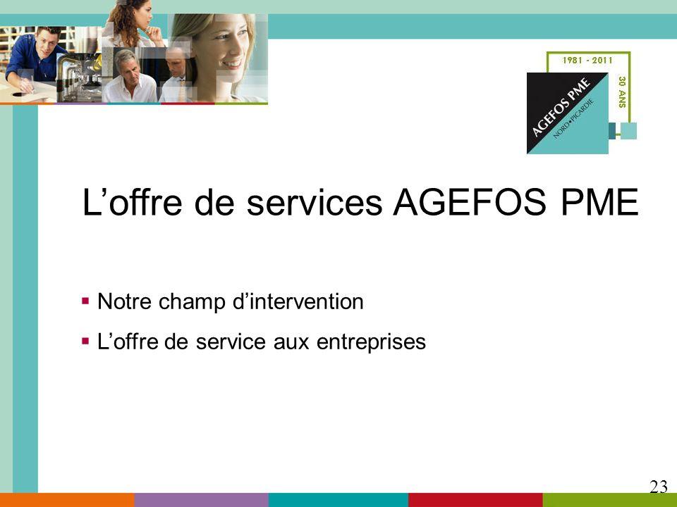 Notre champ dintervention Loffre de service aux entreprises 23 Loffre de services AGEFOS PME