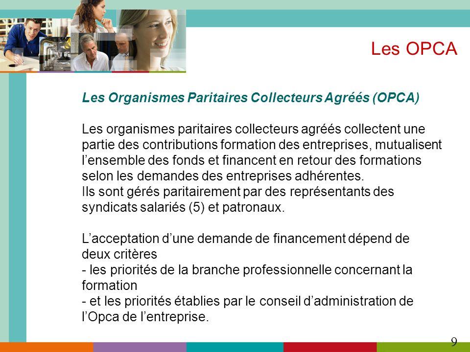 9 Les OPCA Les Organismes Paritaires Collecteurs Agréés (OPCA) Les organismes paritaires collecteurs agréés collectent une partie des contributions fo