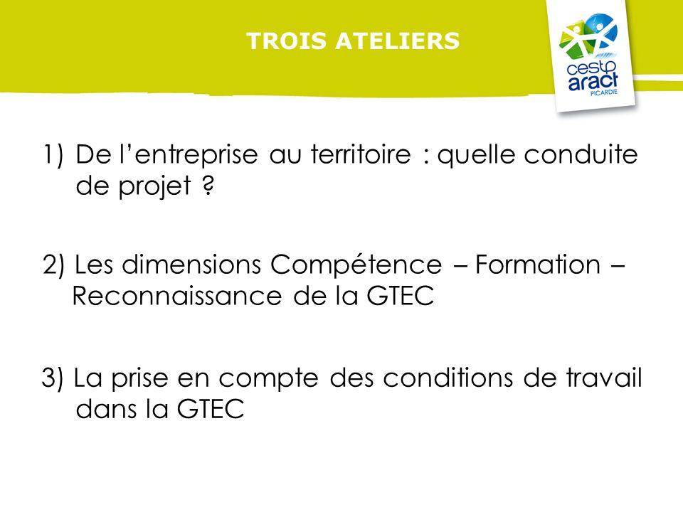 TROIS ATELIERS 2) Les dimensions Compétence – Formation – Reconnaissance de la GTEC 3) La prise en compte des conditions de travail dans la GTEC 1)De