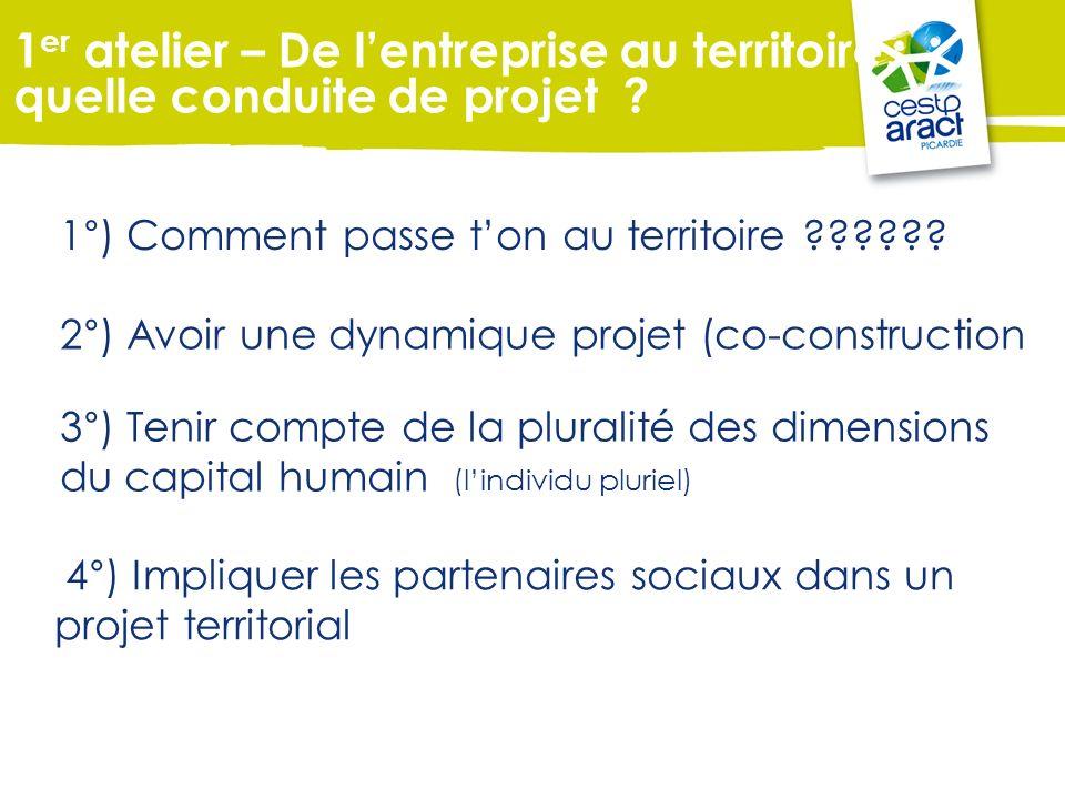 1°) Comment passe ton au territoire ?????? 2°) Avoir une dynamique projet (co-construction 3°) Tenir compte de la pluralité des dimensions du capital