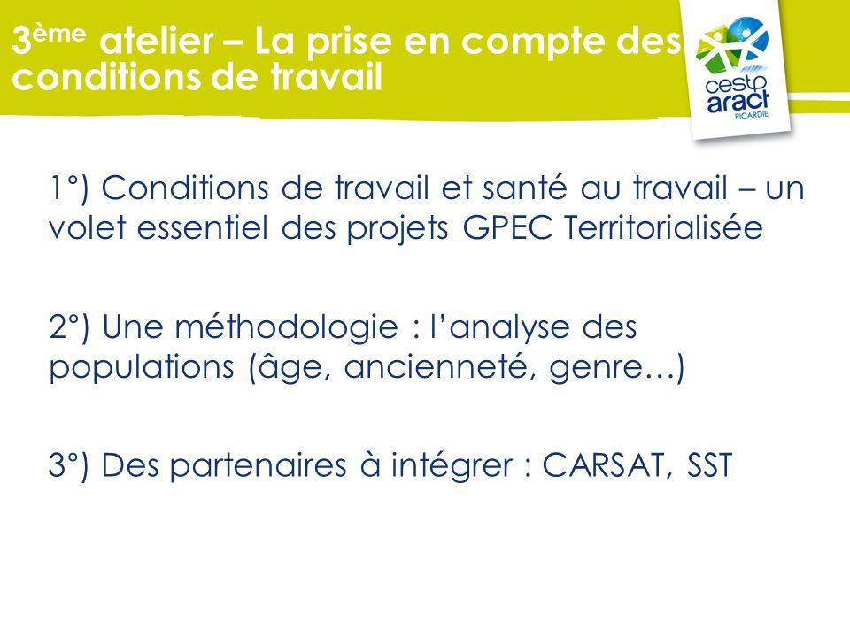 1°) Conditions de travail et santé au travail – un volet essentiel des projets GPEC Territorialisée 3°) Des partenaires à intégrer : CARSAT, SST 3 ème