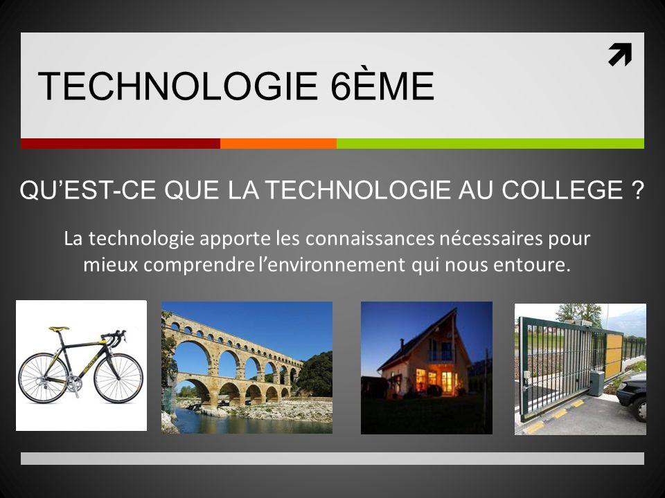 TECHNOLOGIE 6ÈME La technologie apporte les connaissances nécessaires pour mieux comprendre lenvironnement qui nous entoure. QUEST-CE QUE LA TECHNOLOG