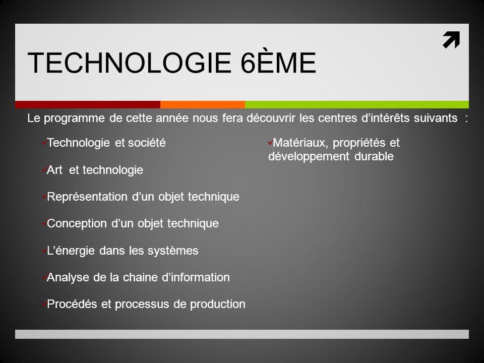 TECHNOLOGIE 6ÈME Le programme de cette année nous fera découvrir les centres dintérêts suivants : Technologie et société Art et technologie Représenta