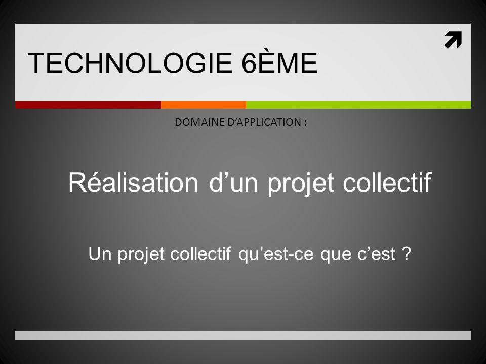 TECHNOLOGIE 6ÈME DOMAINE DAPPLICATION : Réalisation dun projet collectif Un projet collectif quest-ce que cest ?