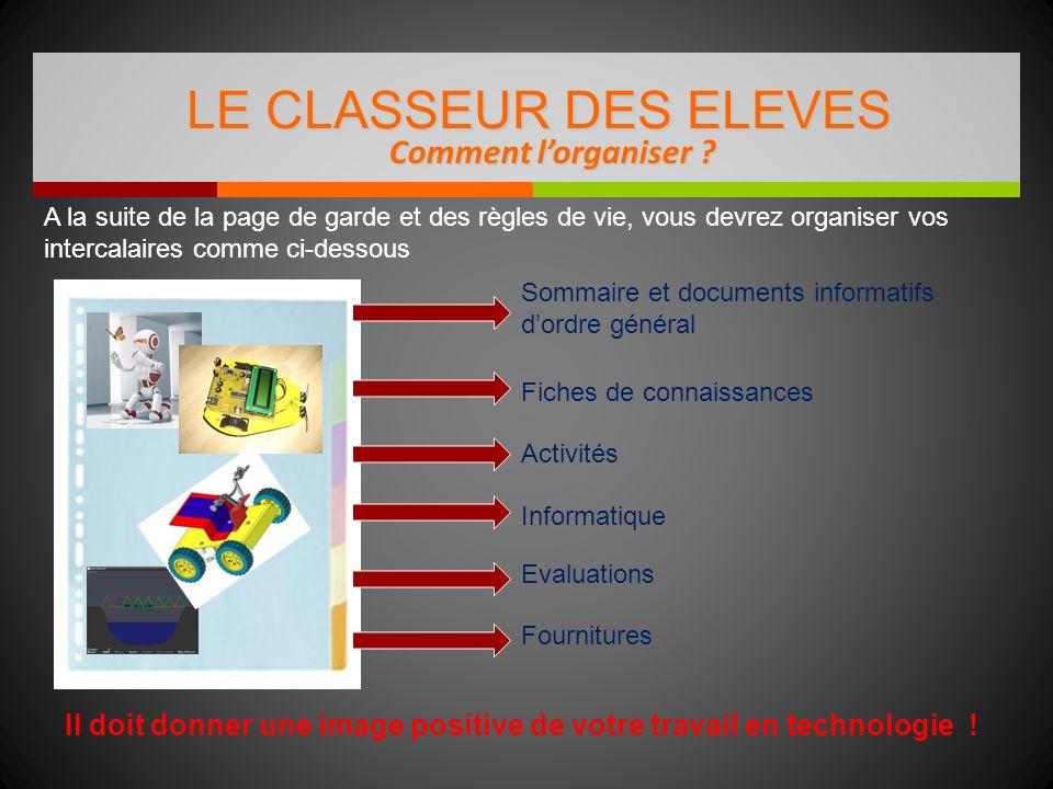 Comment lorganiser ? LE CLASSEUR DES ELEVES Il doit donner une image positive de votre travail en technologie ! Sommaire et documents informatifs dord