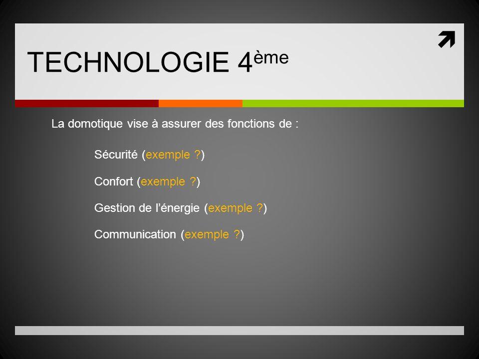 TECHNOLOGIE 4 ème La domotique vise à assurer des fonctions de : Sécurité (exemple ?) Confort (exemple ?) Gestion de lénergie (exemple ?) Communicatio