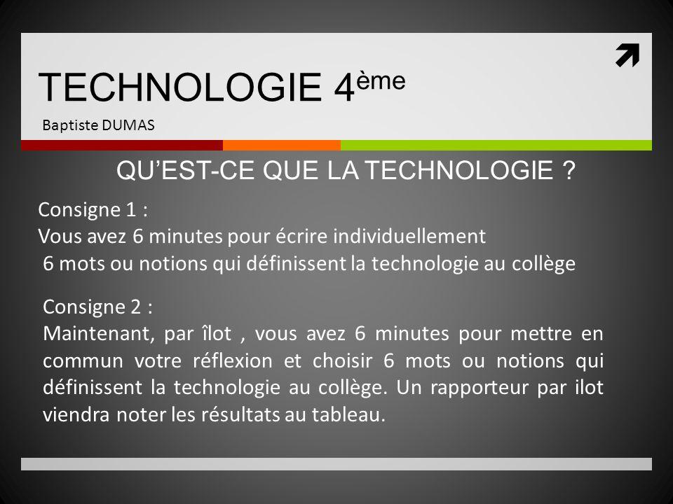 TECHNOLOGIE 4 ème Baptiste DUMAS Consigne 2 : Maintenant, par îlot, vous avez 6 minutes pour mettre en commun votre réflexion et choisir 6 mots ou not