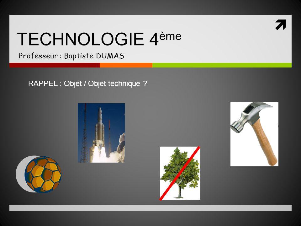 TECHNOLOGIE 4 ème Professeur : Baptiste DUMAS RAPPEL : Objet / Objet technique ?