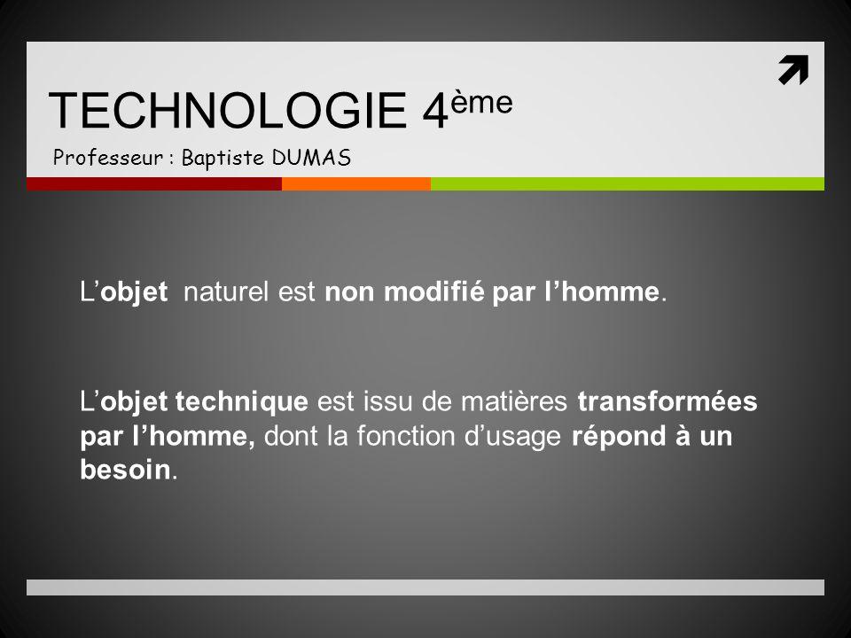 TECHNOLOGIE 4 ème Professeur : Baptiste DUMAS Lobjet naturel est non modifié par lhomme. Lobjet technique est issu de matières transformées par lhomme