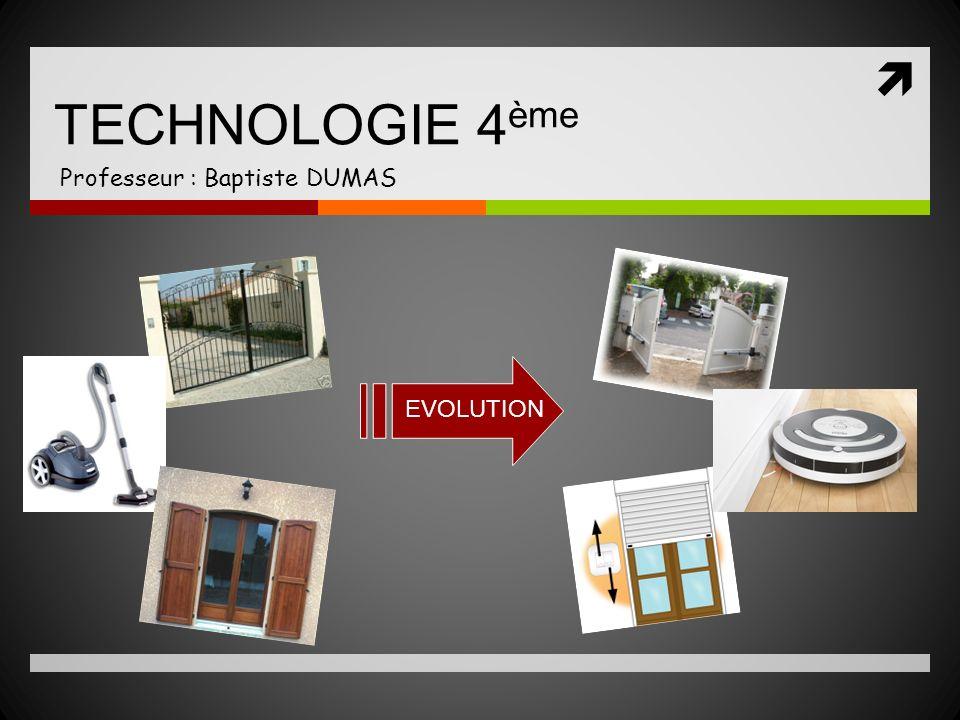 TECHNOLOGIE 4 ème Professeur : Baptiste DUMAS EVOLUTION