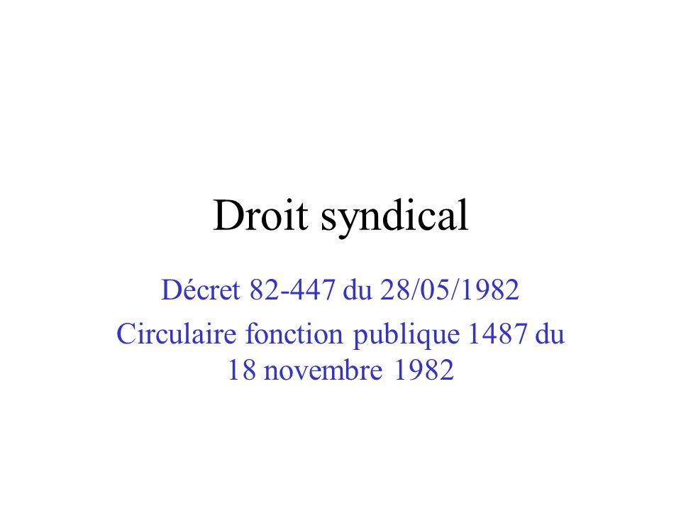 Droit syndical Décret 82-447 du 28/05/1982 Circulaire fonction publique 1487 du 18 novembre 1982