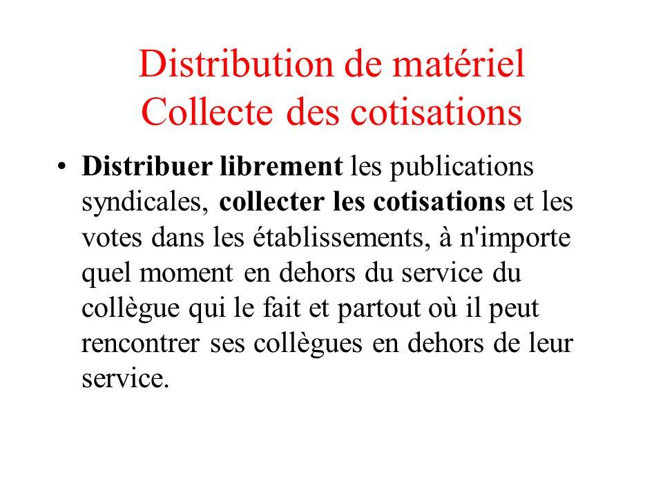 Distribution de matériel Collecte des cotisations Distribuer librement les publications syndicales, collecter les cotisations et les votes dans les ét