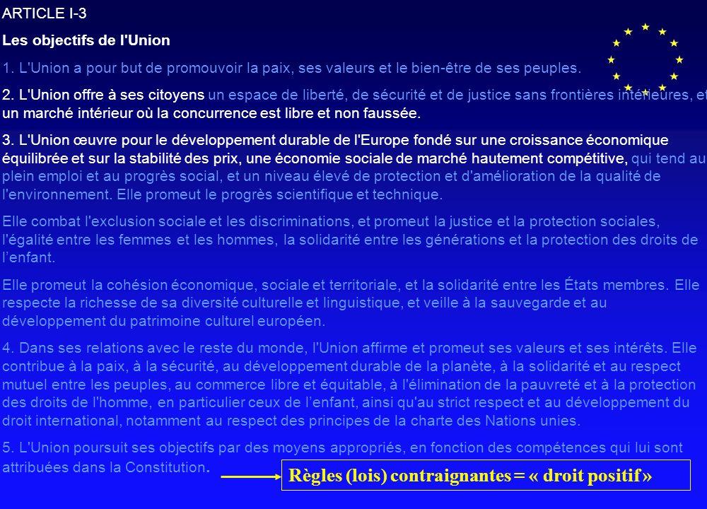 ARTICLE I-3 Les objectifs de l Union 1.
