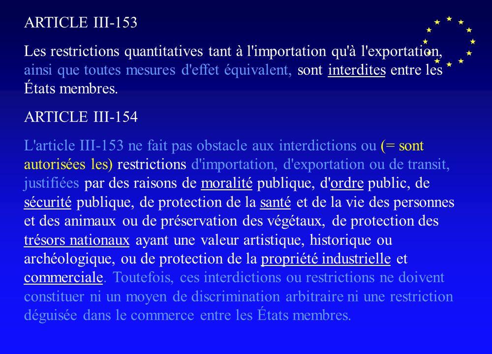 ARTICLE III-153 Les restrictions quantitatives tant à l'importation qu'à l'exportation, ainsi que toutes mesures d'effet équivalent, sont interdites e