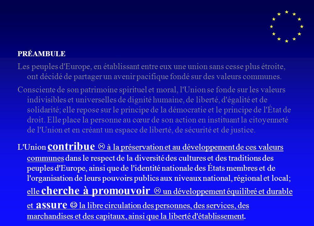La charte des droits fondamentaux de lunion occupe 6% du volume du traité et comprend essentiellement des articles non contraignants.