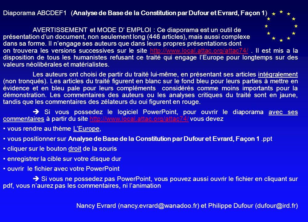 Diaporama ABCDEF1 (Analyse de Base de la Constitution par Dufour et Evrard, Fa ç on 1) AVERTISSEMENT et MODE D EMPLOI : Ce diaporama est un outil de pr é sentation d un document, non seulement long (446 articles), mais aussi complexe dans sa forme.