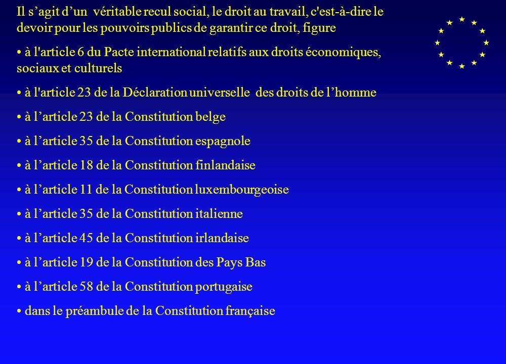 Projet de Constitution Européenne ARTICLE II-75 Toute personne a le droit de travailler … Droit au travail Constitution française : « Chacun a le devoir de travailler et le droit d obtenir un emploi ».