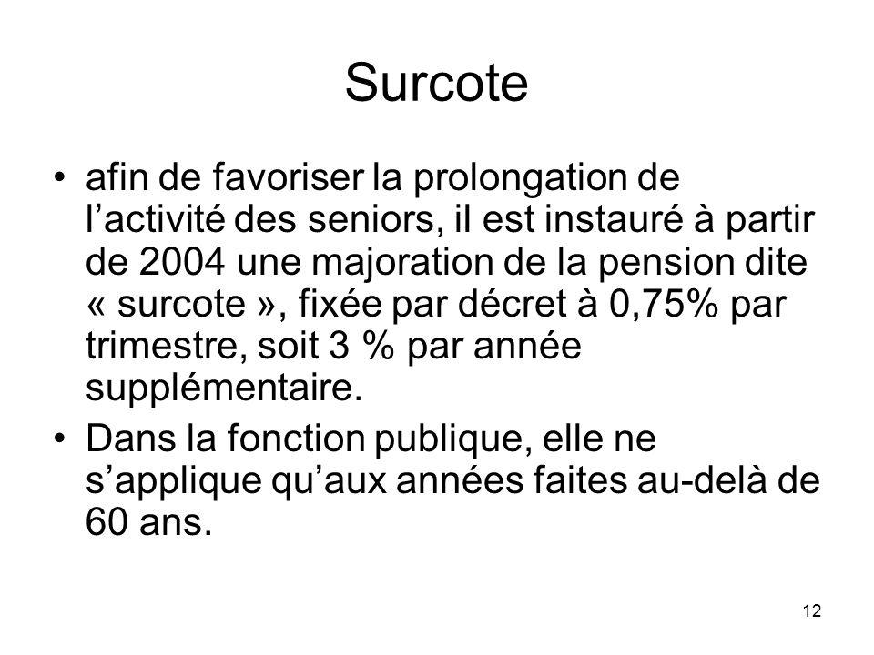 12 Surcote afin de favoriser la prolongation de lactivité des seniors, il est instauré à partir de 2004 une majoration de la pension dite « surcote », fixée par décret à 0,75% par trimestre, soit 3 % par année supplémentaire.