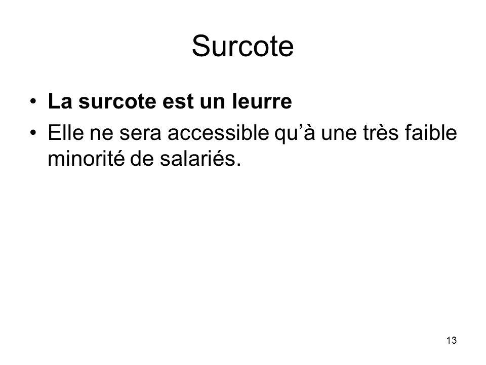 13 Surcote La surcote est un leurre Elle ne sera accessible quà une très faible minorité de salariés.
