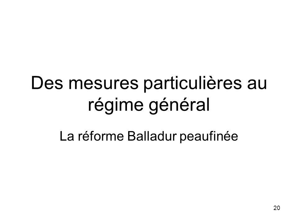 20 Des mesures particulières au régime général La réforme Balladur peaufinée