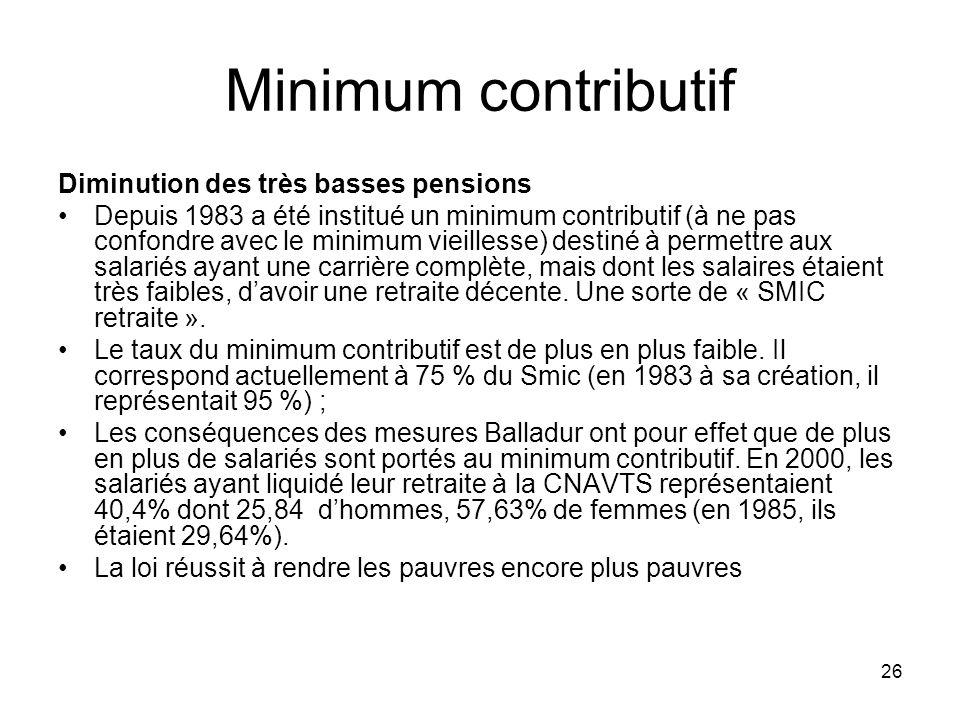 26 Minimum contributif Diminution des très basses pensions Depuis 1983 a été institué un minimum contributif (à ne pas confondre avec le minimum vieillesse) destiné à permettre aux salariés ayant une carrière complète, mais dont les salaires étaient très faibles, davoir une retraite décente.