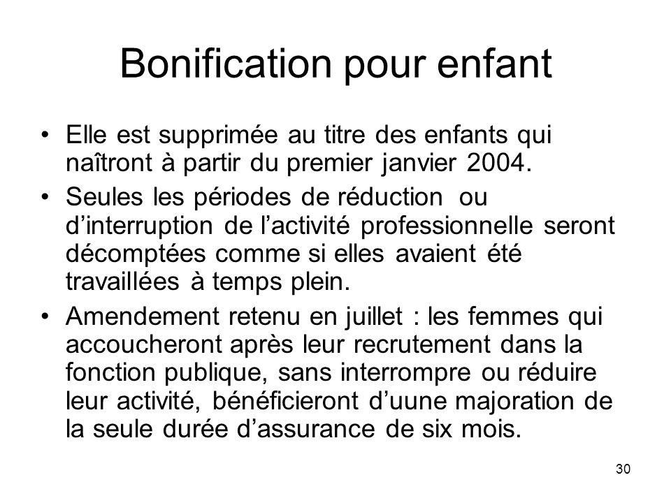 30 Bonification pour enfant Elle est supprimée au titre des enfants qui naîtront à partir du premier janvier 2004.