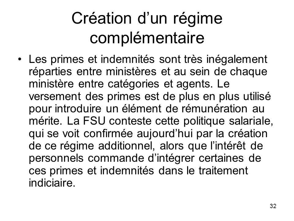 32 Création dun régime complémentaire Les primes et indemnités sont très inégalement réparties entre ministères et au sein de chaque ministère entre catégories et agents.