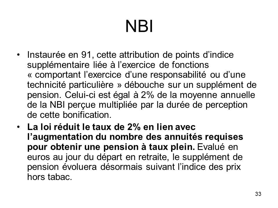 33 NBI Instaurée en 91, cette attribution de points dindice supplémentaire liée à lexercice de fonctions « comportant lexercice dune responsabilité ou dune technicité particulière » débouche sur un supplément de pension.