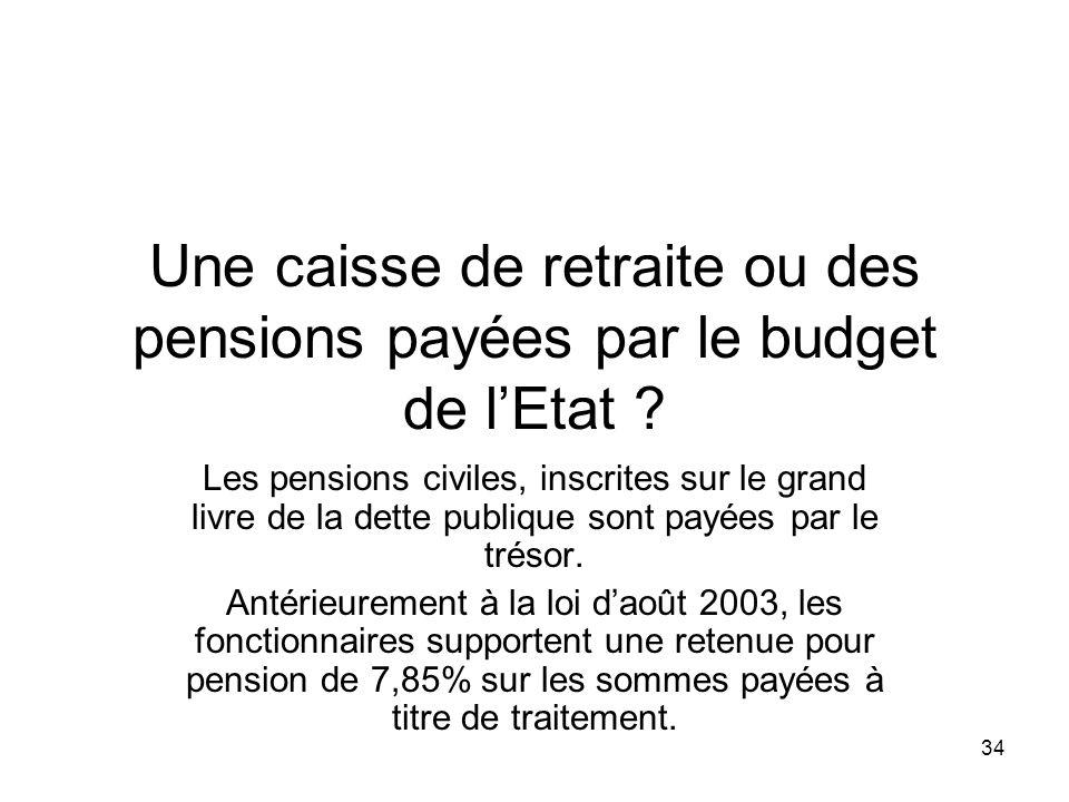 34 Une caisse de retraite ou des pensions payées par le budget de lEtat .