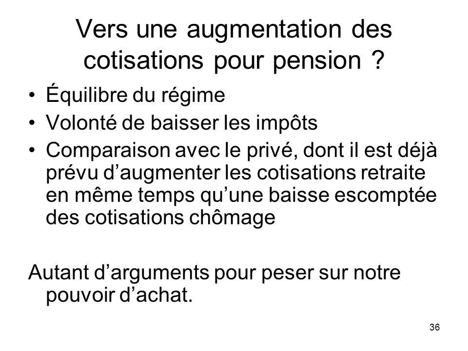 36 Vers une augmentation des cotisations pour pension .