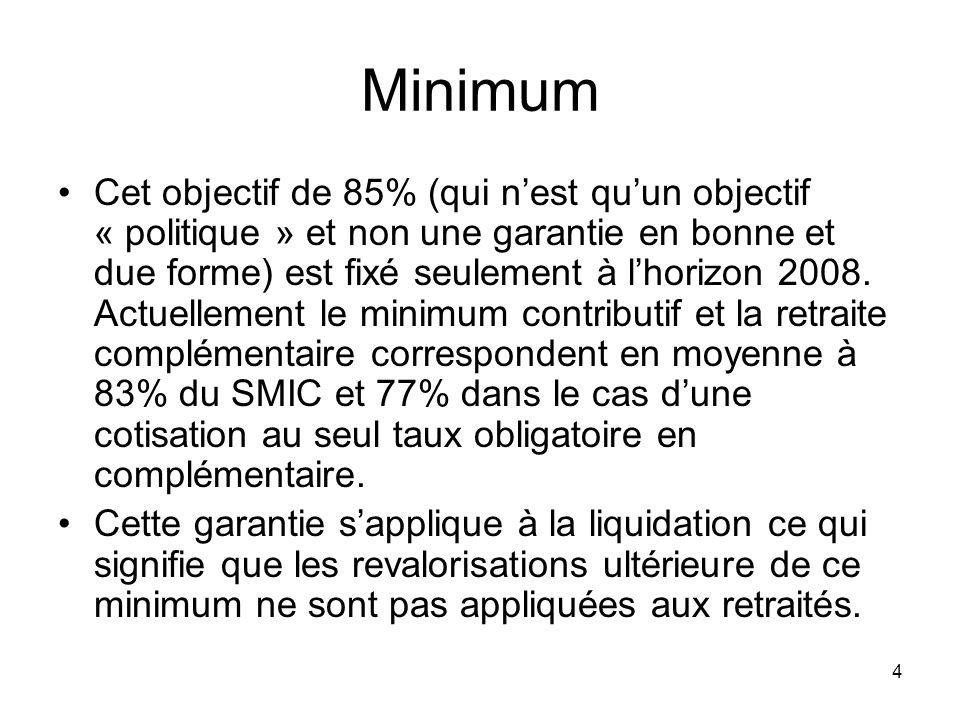4 Minimum Cet objectif de 85% (qui nest quun objectif « politique » et non une garantie en bonne et due forme) est fixé seulement à lhorizon 2008.