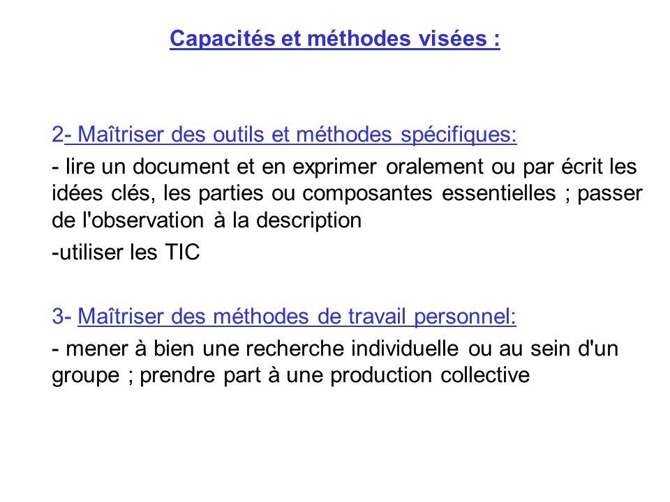 Capacités et méthodes visées : 2- Maîtriser des outils et méthodes spécifiques: - lire un document et en exprimer oralement ou par écrit les idées clé