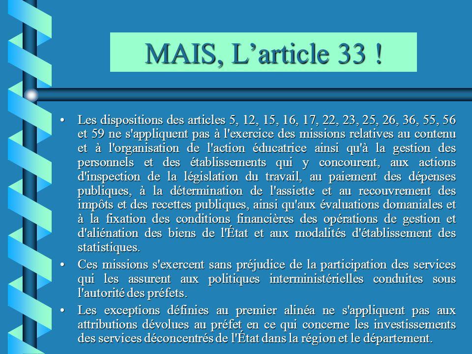 MAIS, Larticle 33 ! Les dispositions des articles 5, 12, 15, 16, 17, 22, 23, 25, 26, 36, 55, 56 et 59 ne s'appliquent pas à l'exercice des missions re