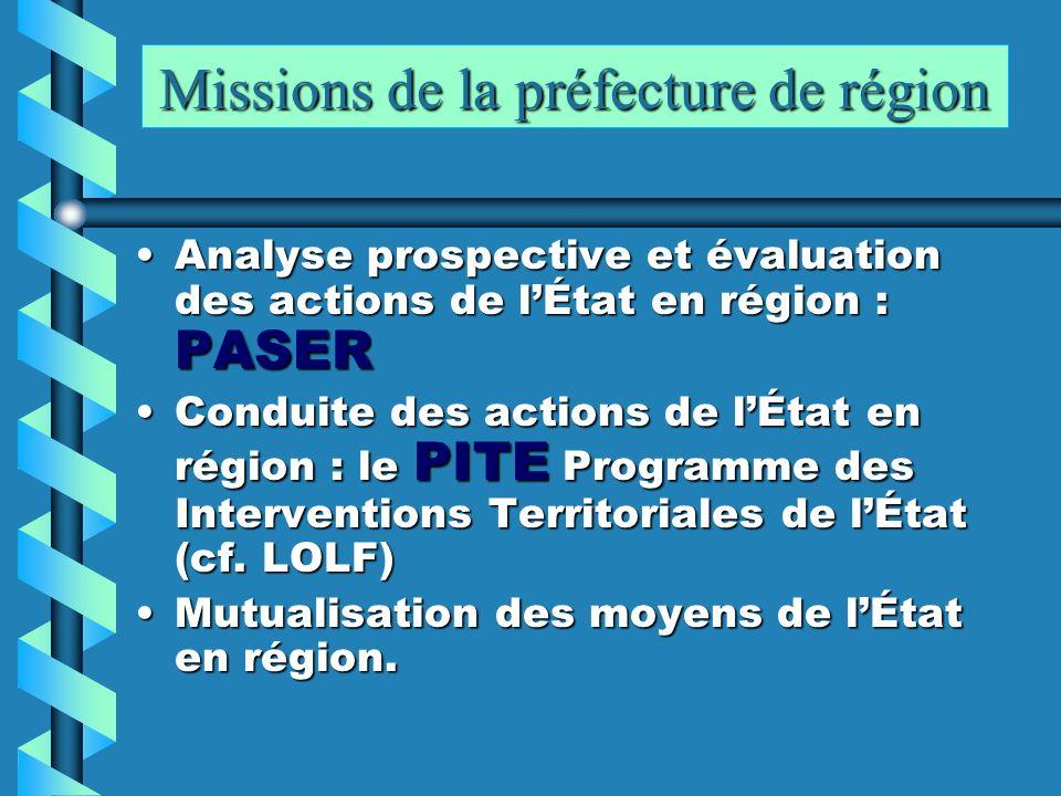 Missions de la préfecture de région Analyse prospective et évaluation des actions de lÉtat en région : PASERAnalyse prospective et évaluation des acti