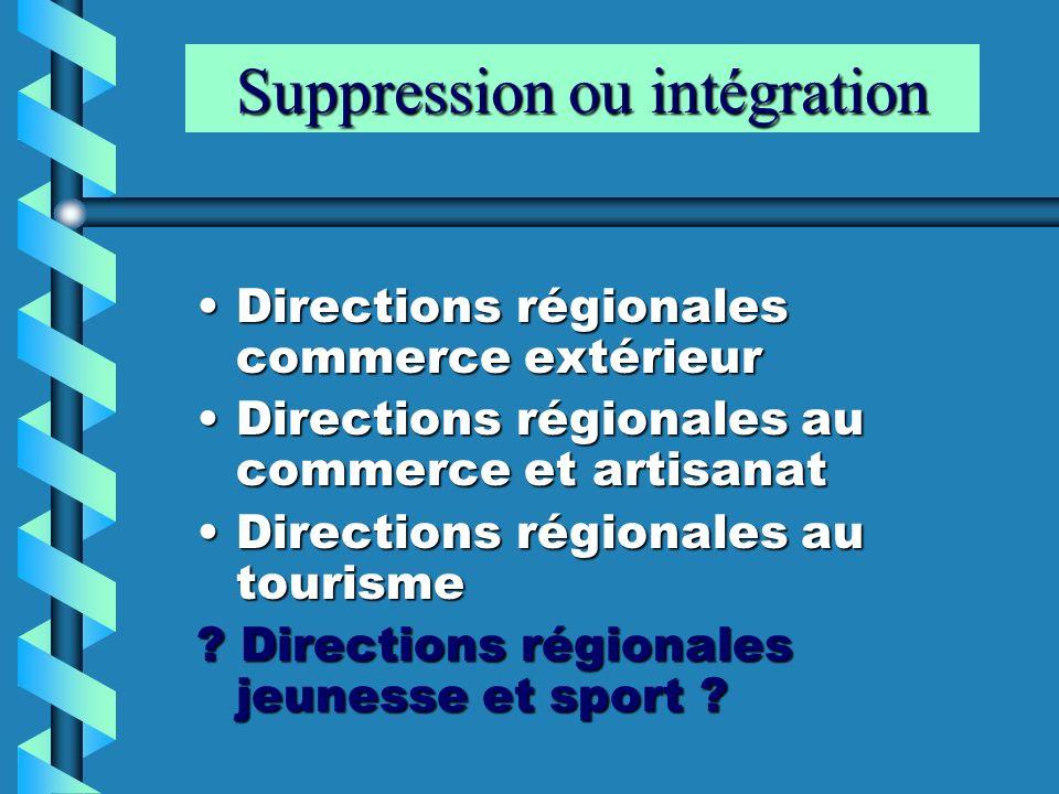 Suppression ou intégration Directions régionales commerce extérieurDirections régionales commerce extérieur Directions régionales au commerce et artis