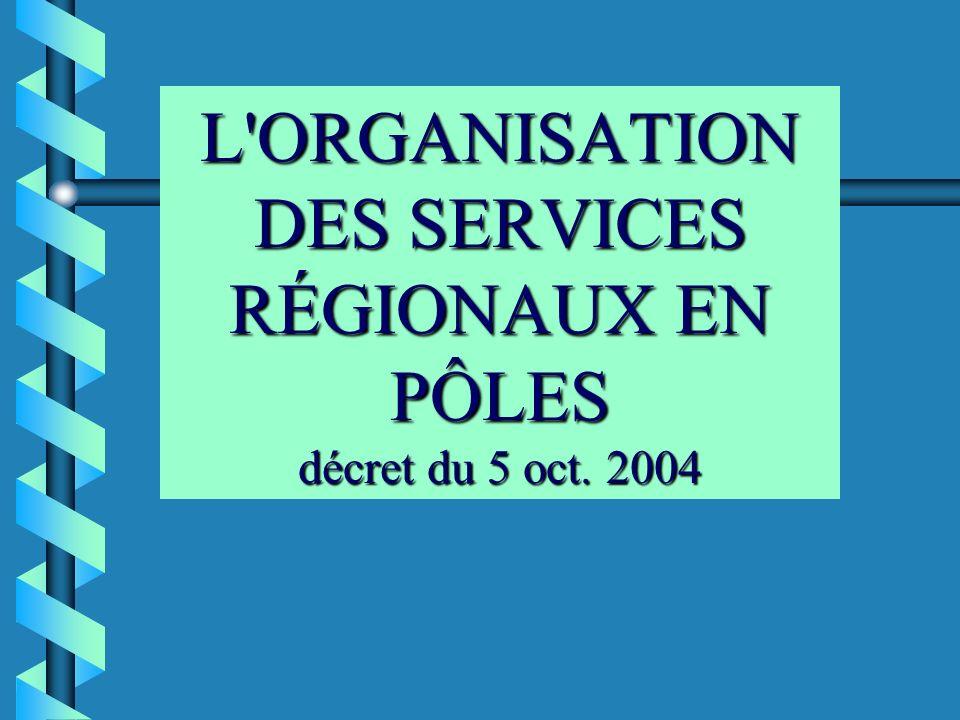 L'ORGANISATION DES SERVICES RÉGIONAUX EN PÔLES décret du 5 oct. 2004