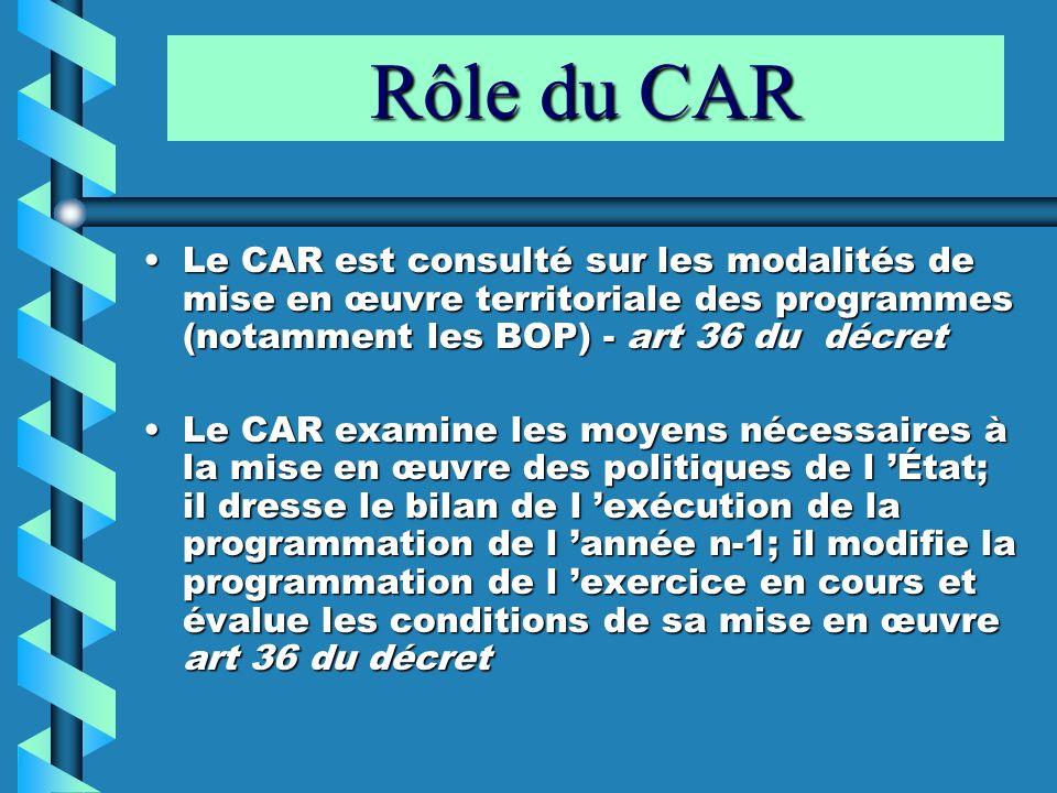 Rôle du CAR Le CAR est consulté sur les modalités de mise en œuvre territoriale des programmes (notamment les BOP) - art 36 du décretLe CAR est consul