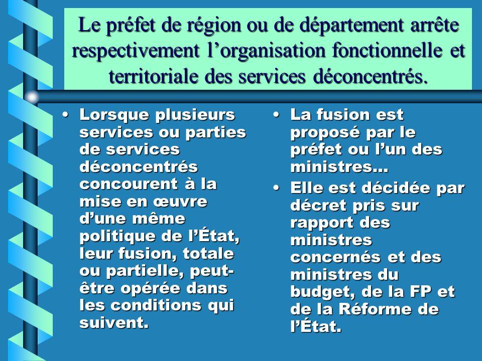 Le préfet de région ou de département arrête respectivement lorganisation fonctionnelle et territoriale des services déconcentrés. Lorsque plusieurs s