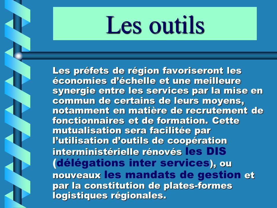 Les outils Les préfets de région favoriseront les économies déchelle et une meilleure synergie entre les services par la mise en commun de certains de