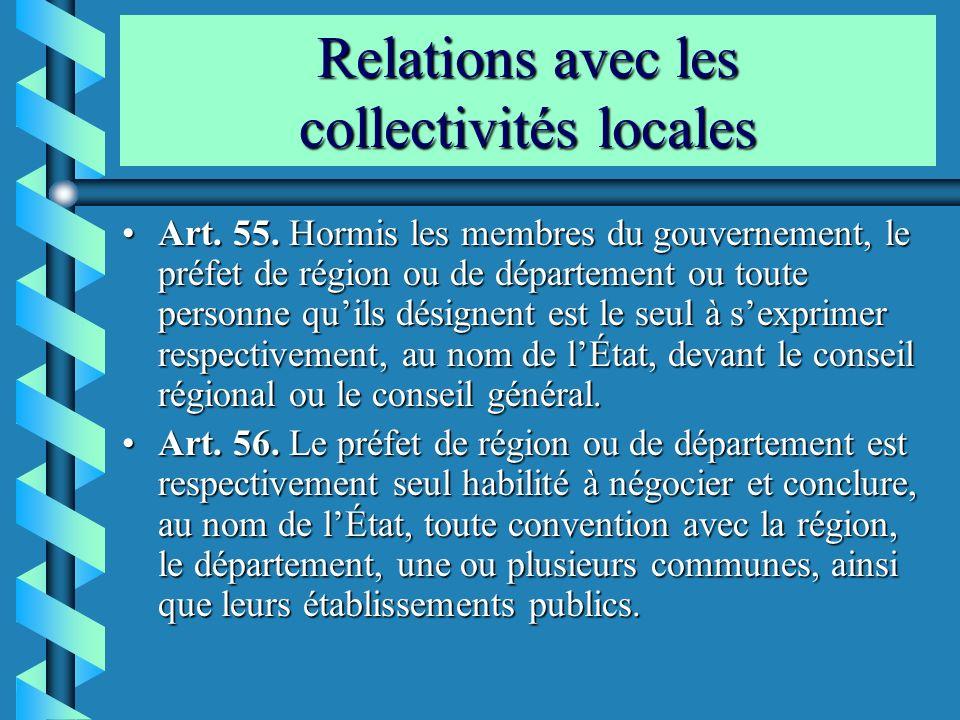 Relations avec les collectivités locales Art. 55. Hormis les membres du gouvernement, le préfet de région ou de département ou toute personne quils dé