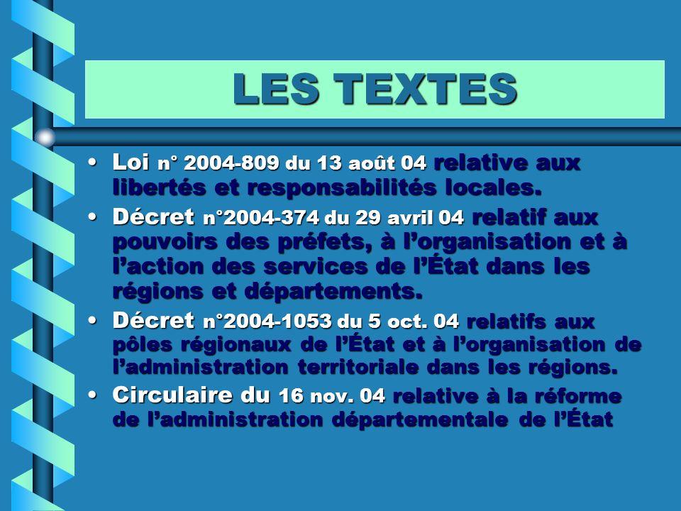 LES TEXTES Loi n° 2004-809 du 13 août 04 relative aux libertés et responsabilités locales.Loi n° 2004-809 du 13 août 04 relative aux libertés et respo