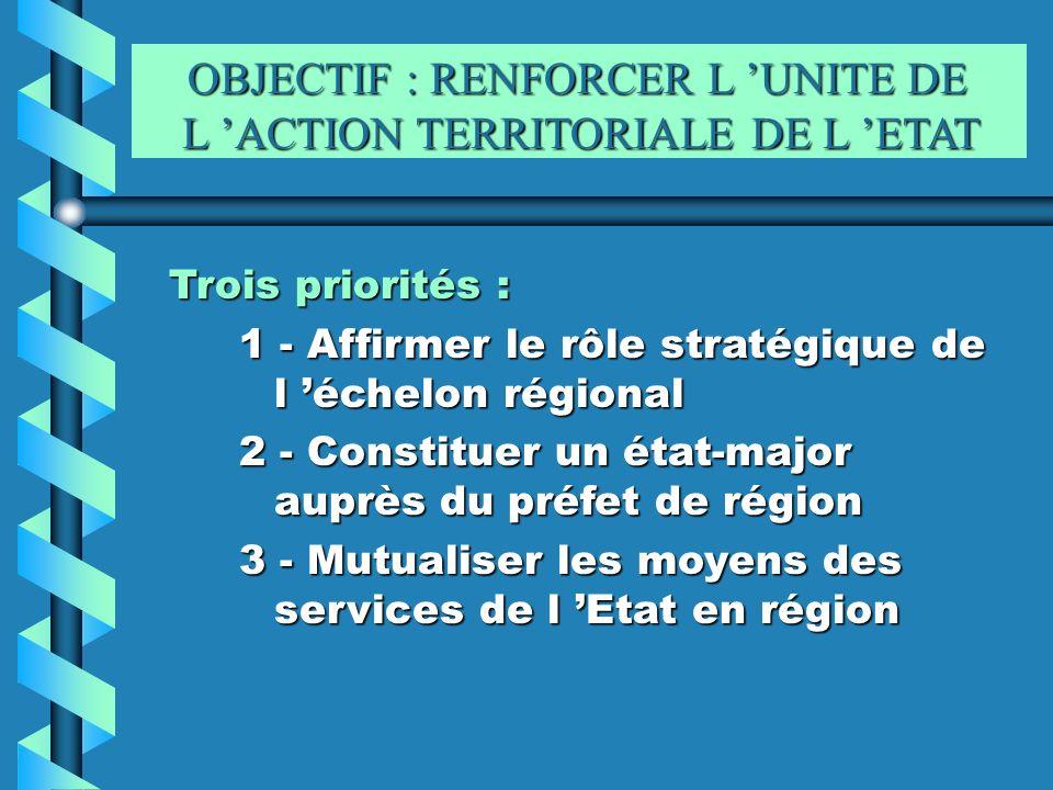 OBJECTIF : RENFORCER L UNITE DE L ACTION TERRITORIALE DE L ETAT OBJECTIF : RENFORCER L UNITE DE L ACTION TERRITORIALE DE L ETAT Trois priorités : 1 -