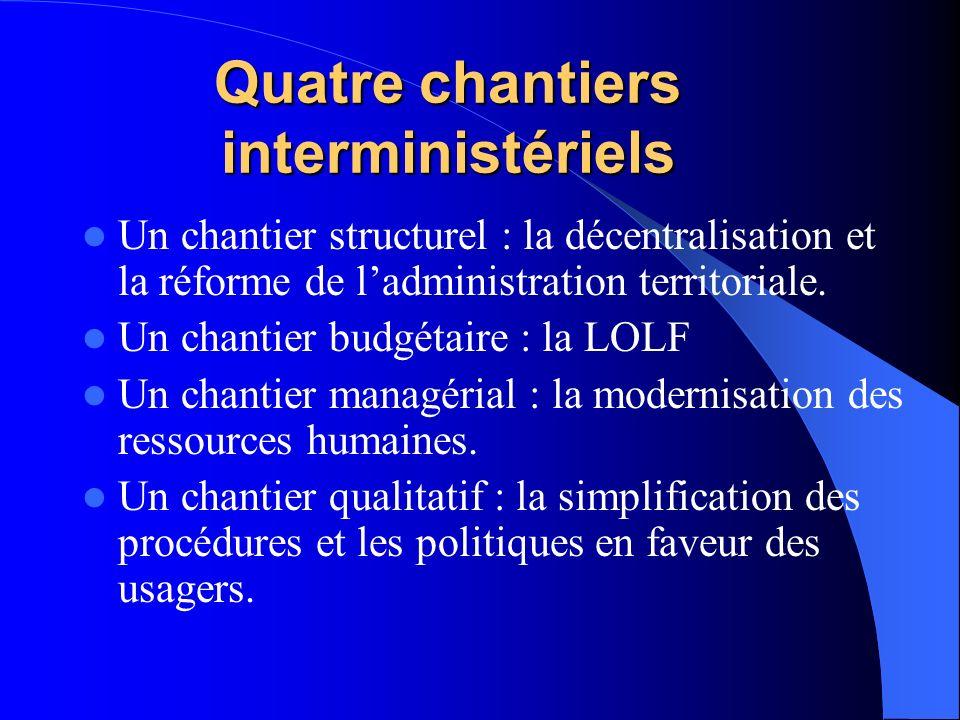 Quatre chantiers interministériels Un chantier structurel : la décentralisation et la réforme de ladministration territoriale.