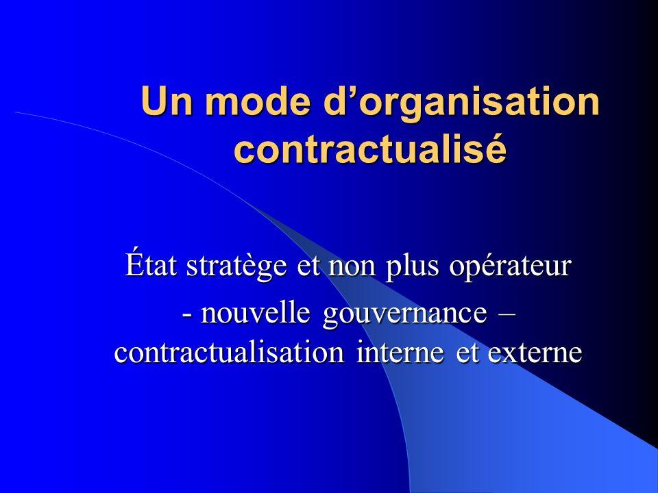 Un mode dorganisation contractualisé État stratège et non plus opérateur - nouvelle gouvernance – contractualisation interne et externe