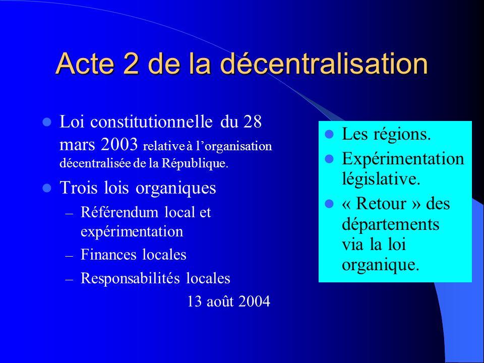 Acte 2 de la décentralisation Loi constitutionnelle du 28 mars 2003 relative à lorganisation décentralisée de la République.
