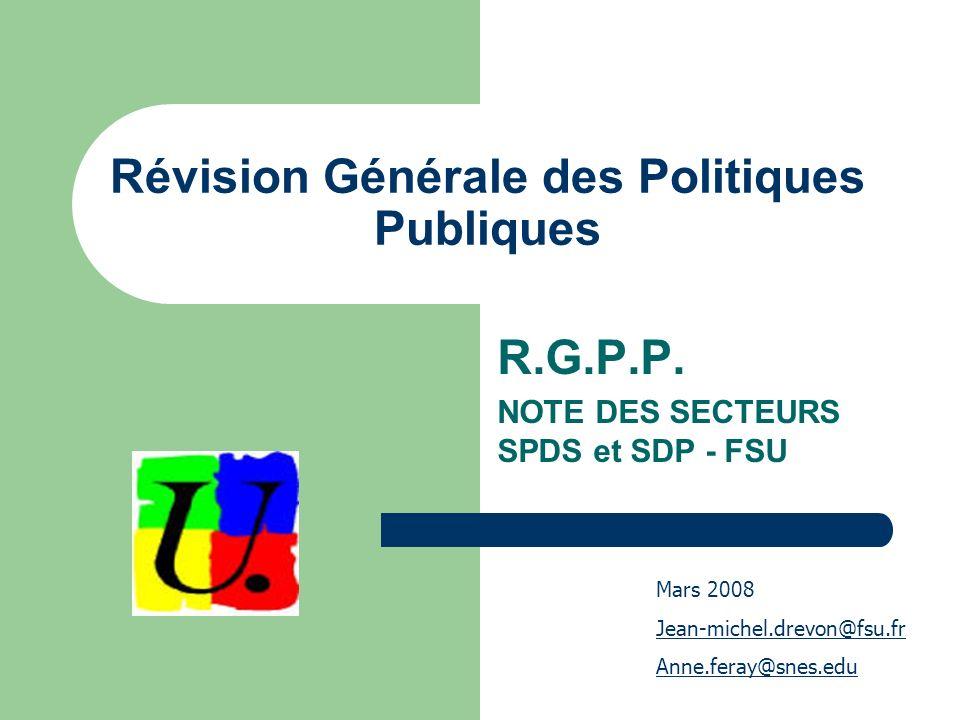 Révision Générale des Politiques Publiques R.G.P.P.