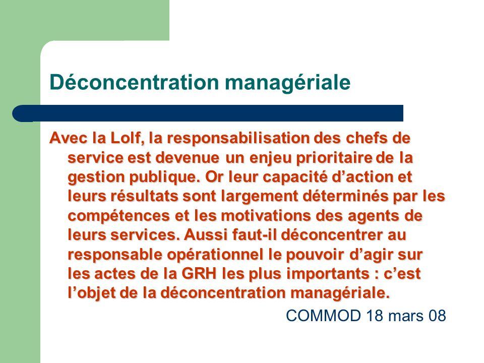 Déconcentration managériale Avec la Lolf, la responsabilisation des chefs de service est devenue un enjeu prioritaire de la gestion publique.