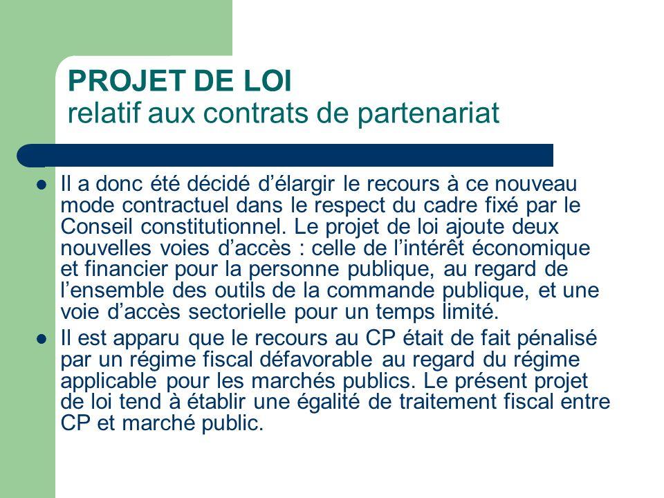 PROJET DE LOI relatif aux contrats de partenariat Il a donc été décidé délargir le recours à ce nouveau mode contractuel dans le respect du cadre fixé par le Conseil constitutionnel.