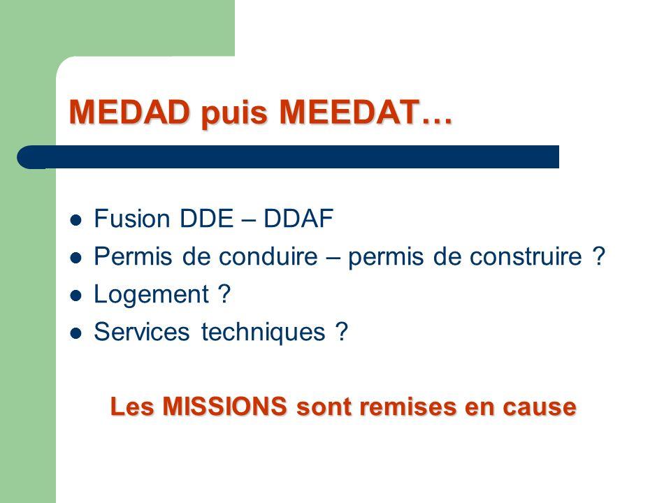 MEDAD puis MEEDAT… Fusion DDE – DDAF Permis de conduire – permis de construire .