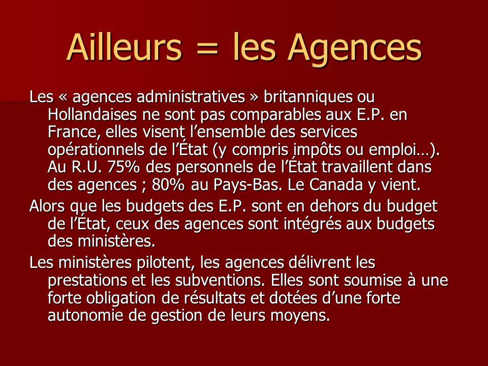 Ailleurs = les Agences Les « agences administratives » britanniques ou Hollandaises ne sont pas comparables aux E.P.